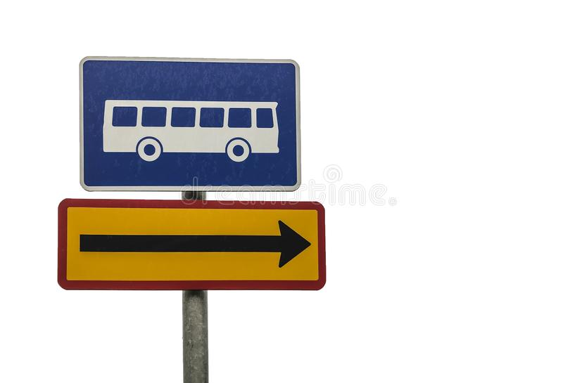 Bus stop direction sign isolated on white royalty free stock images