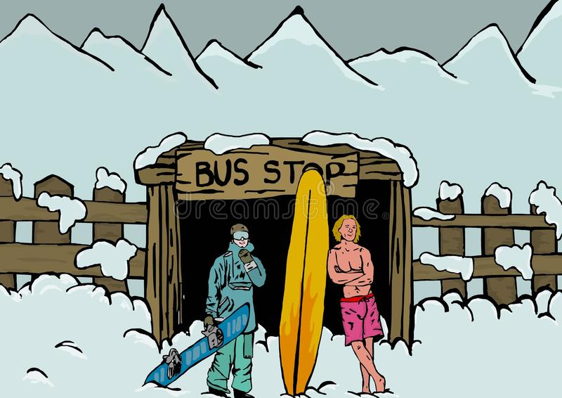 Bus stop. Funny image of snowboarder and surfer waiting at bus stop