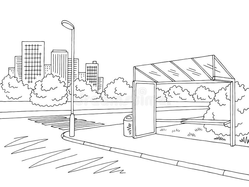 Bus stop graphic black white city street landscape sketch illustration vector. Bus stop graphic black white city street landscape sketch illustration stock illustration