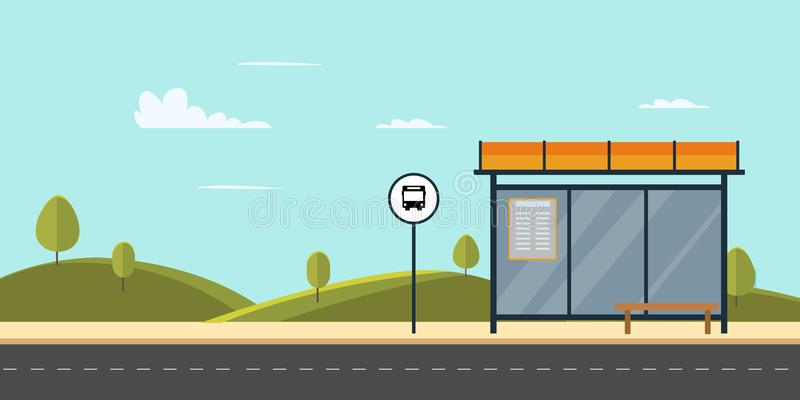 Bus stop on main street city.Public park with bench and bus stop with sky. Background.Vector illustration vector illustration