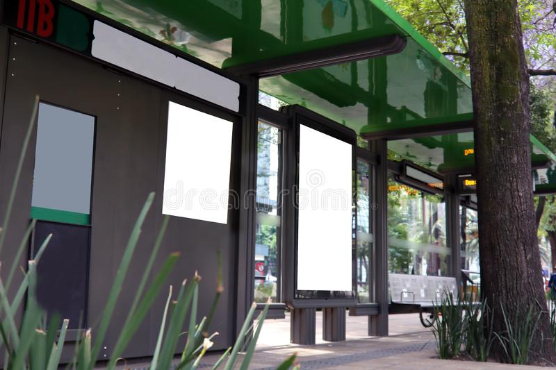 Bus stop in Mexico City. The bus stop or whereabouts is an urban element, belonging to the urban furniture characterized by being a public, functional space of stock images