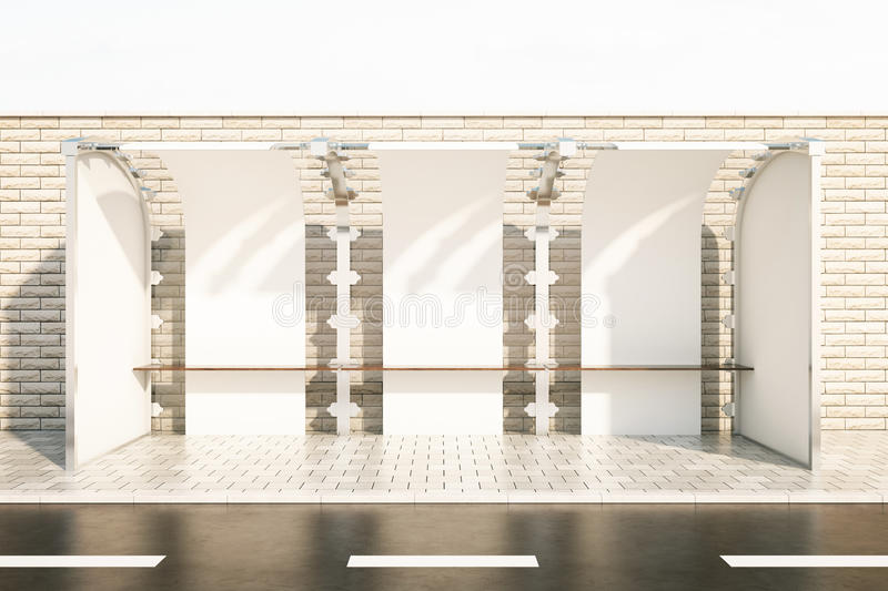 Bus stop. Modern glass bus stop in front of brick fence. White background. 3D Rendering royalty free illustration