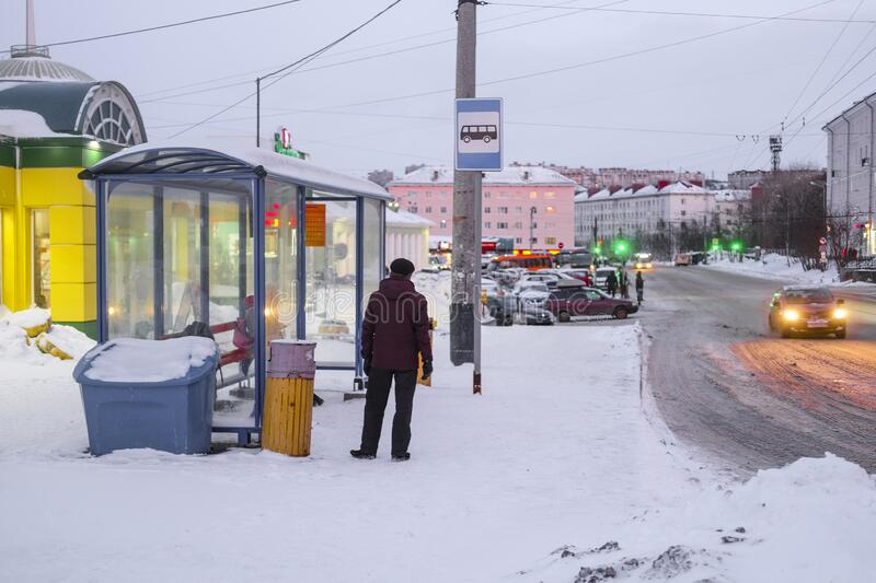 Bus stop in Murmansk, Russia royalty free stock photos