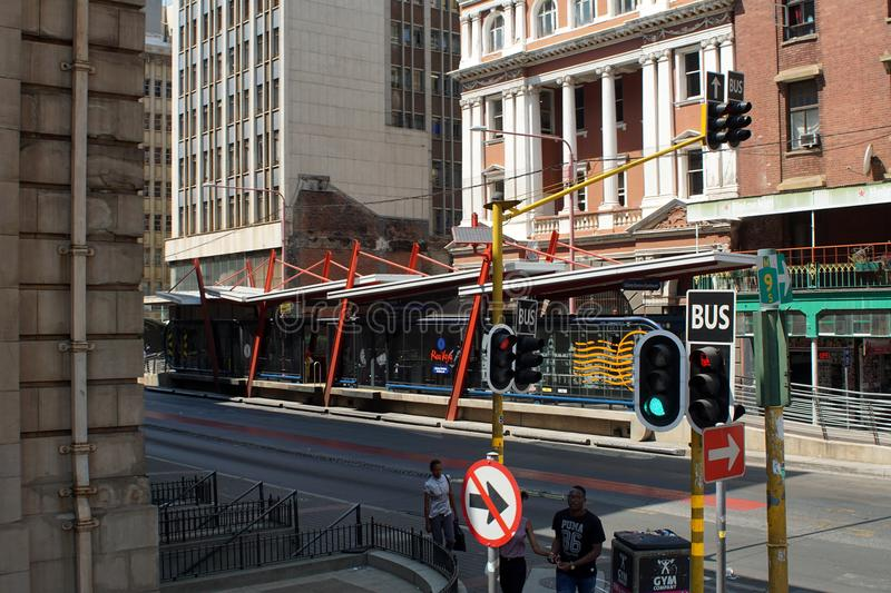 Bus stop in the Central Business District, Johannesburg, South Africa. Bus stop on part of an integrated transportation system in the Central Business District royalty free stock photography