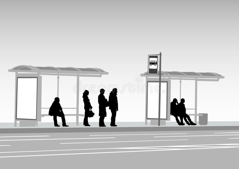 Bus stop people royalty free illustration