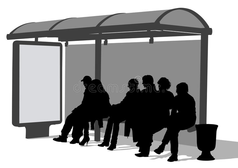 Bus stop people stock illustration