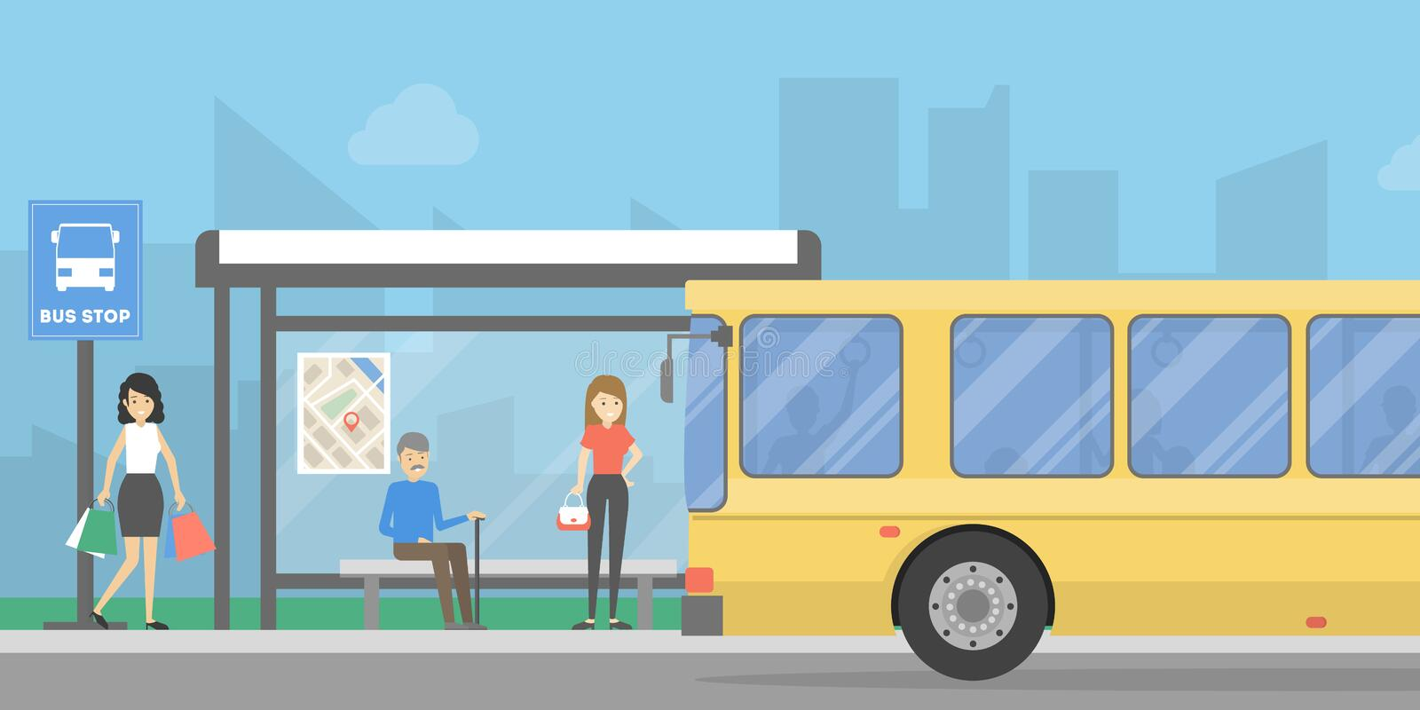 Bus stop with people. stock illustration
