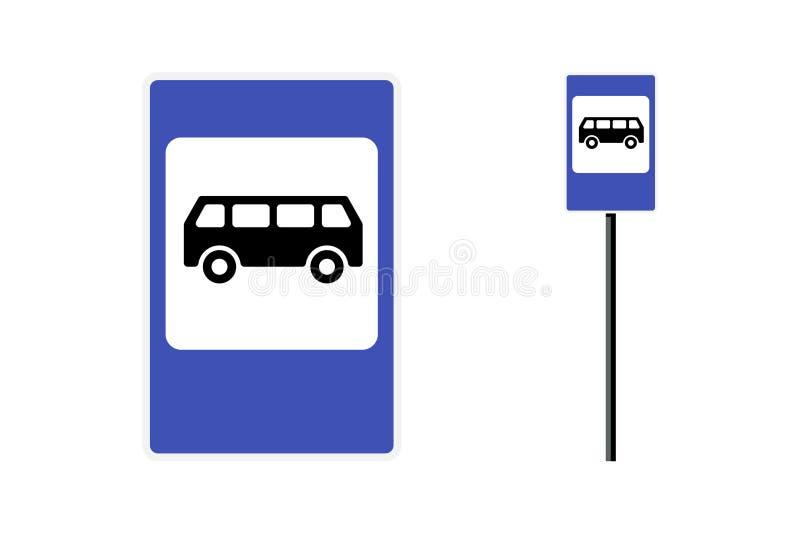 Bus stop post station flat design blue sign set Afzonderlijke vectorillustratie op witte achtergrond stock afbeeldingen