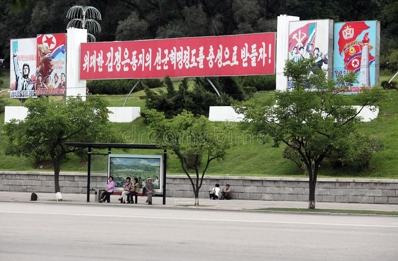 Download Bus-stop in Pyongyang editorial photography. Image of coverage - 33719417