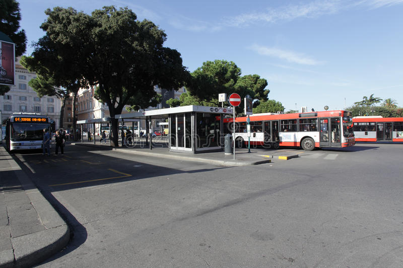 Download Bus stop in Rome editorial stock image. Image of view - 27241629