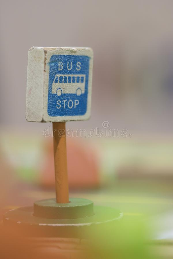 Bus Stop sign - Toy Set Street Signs - Play set Educational toys. For preschool indoor playground selective focus royalty free stock image