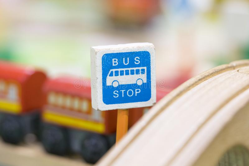 Bus Stop sign - Toy Set Street Signs - Play set Educational toys royalty free stock photos