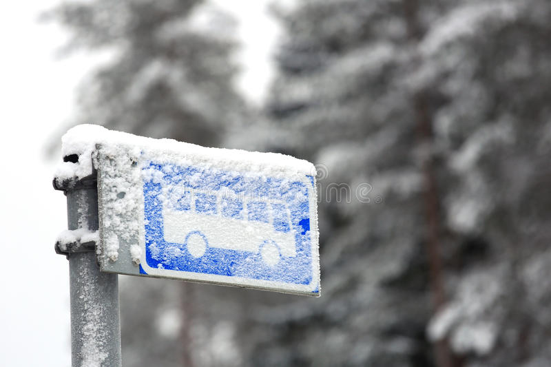Bus Stop Sign in Winter Snow stock photos