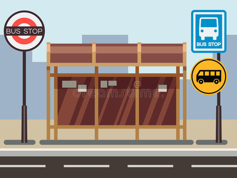Bus stop with urban cityscape stock illustration