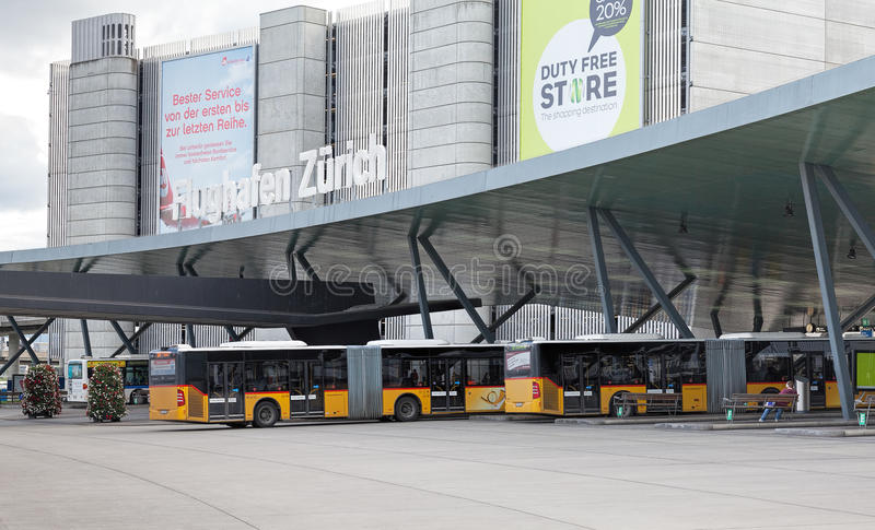 Bus stops at Zurich airport royalty free stock images