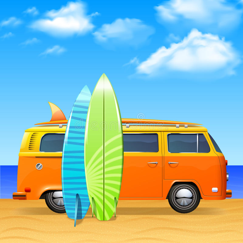 Bus With Surf Boards. Retro bus with surf boards on summer sea background vector illustration royalty free illustration