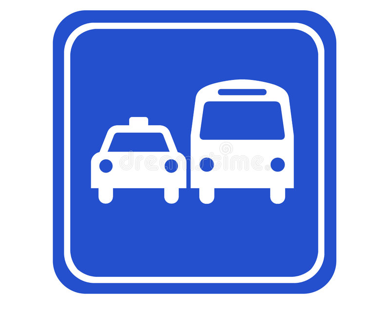 Bus and taxi royalty free illustration