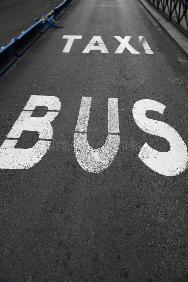 Download Bus and Taxi Lane stock image. Image of signs, city, travel - 28207769