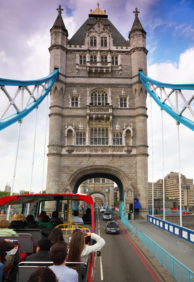 Download In Bus On Tower Bridge In London. Royalty Free Stock Images - Image: 17413319
