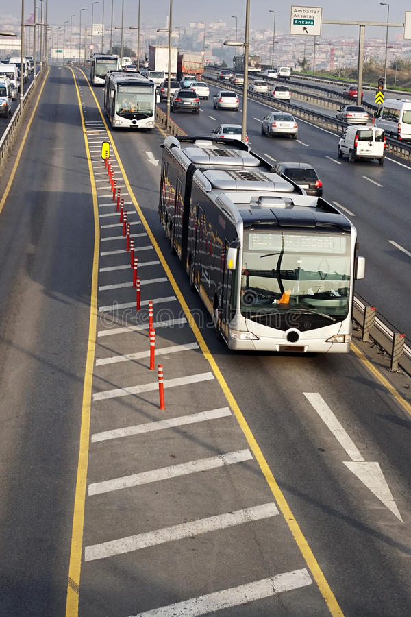 Bus traffic. Metro bus line through autobahn in Istanbul stock images