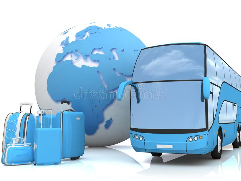 Download Bus Traffic With A Globe And Luggage Stock Illustration - Illustration of road, country: 26581794
