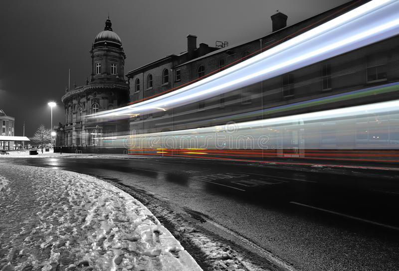 Bus light trail in the dark in the city of Hull royalty free stock photo