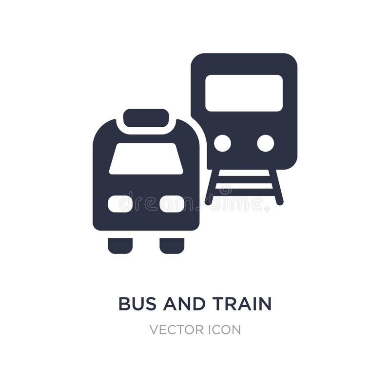 Bus and train icon on white background. Simple element illustration from Transport concept. Bus and train sign icon symbol design stock illustration