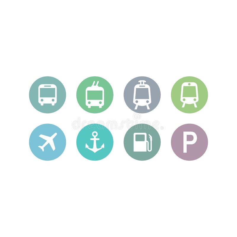 Bus, train, subway station, marine port vector symbols. Circle location sign set for public transport, airport, bus, train and gas station stock illustration