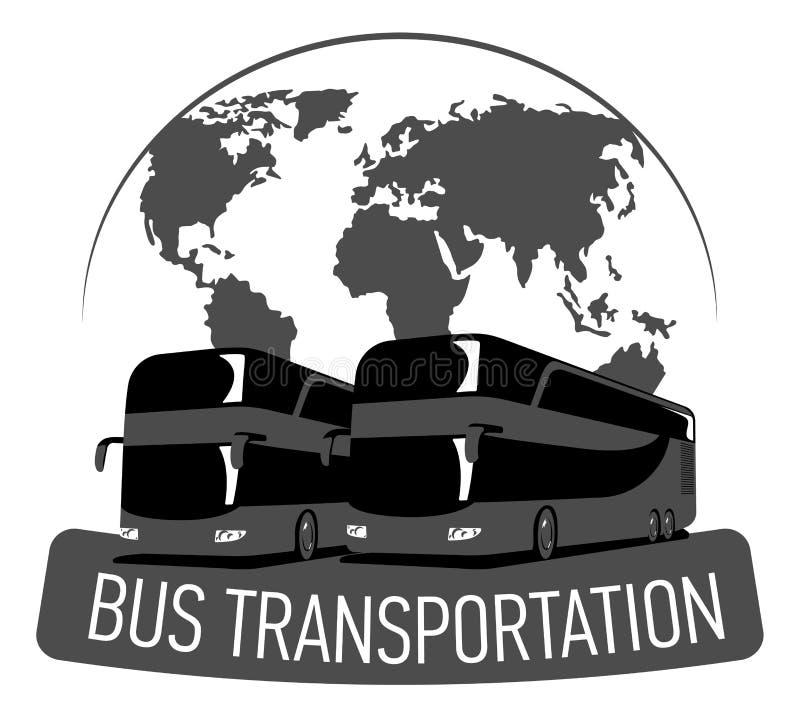 Bus transportation label. big tour bus on world map, flat double-decker royalty free illustration