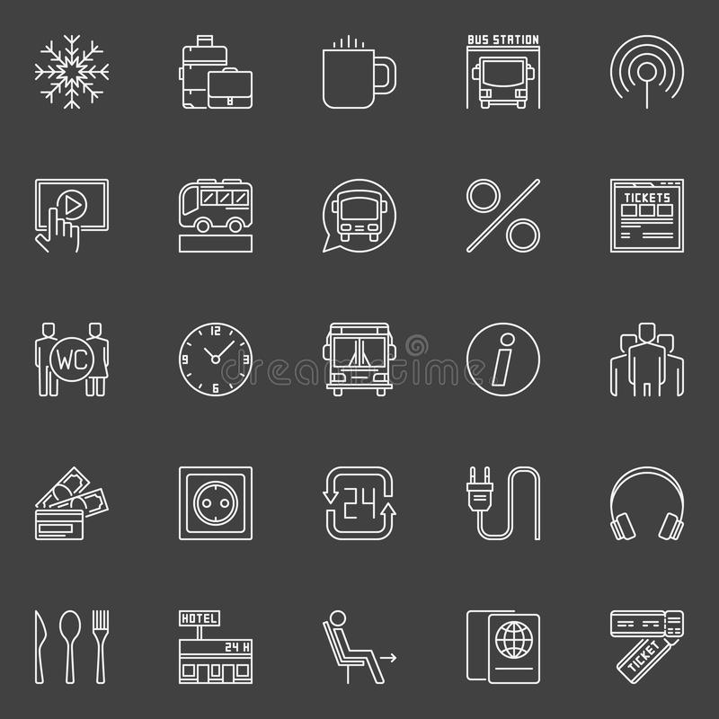 Bus travel outline icons stock illustration