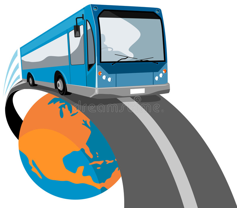 Bus Traveling Off The Globe Royalty Free Stock Image