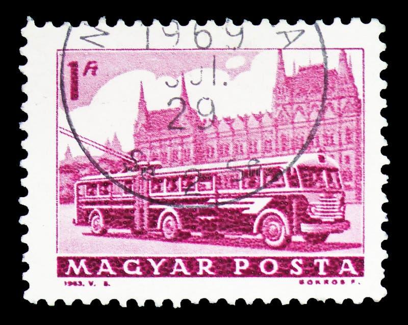 Bus und Parlament, Transport und Telekommunikation serie, circa 1963 lizenzfreies stockfoto
