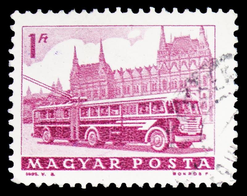 Bus und Parlament, Transport und Telekommunikation serie, circa 1963 stockfotografie