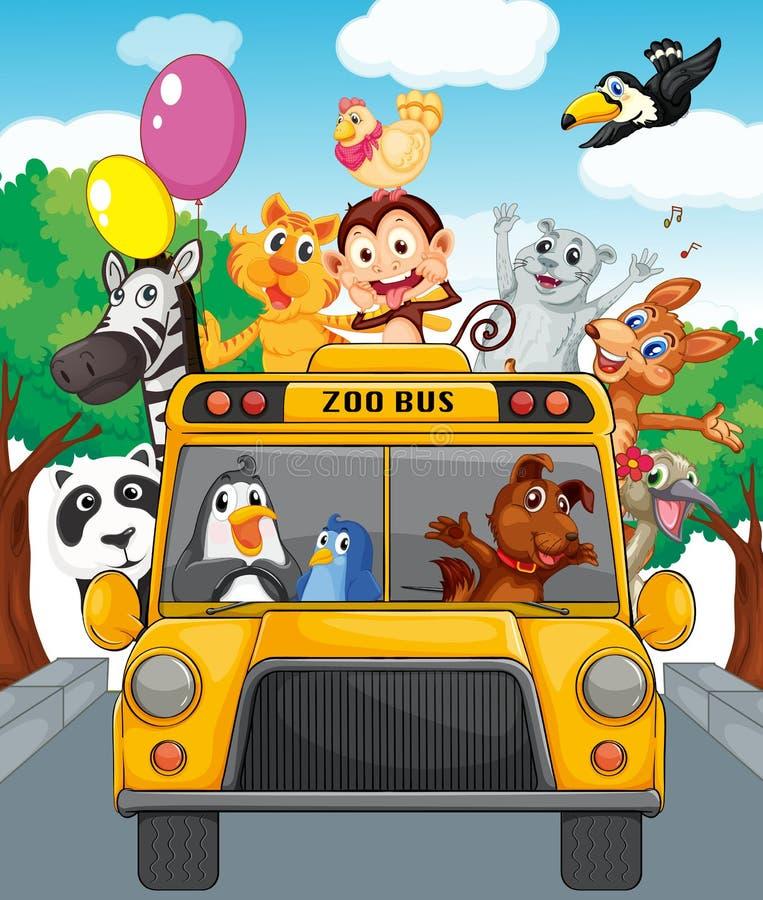 Bus van dieren royalty-vrije illustratie