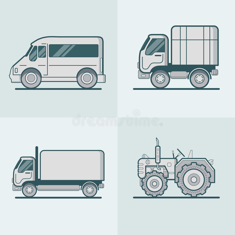Bus Van Lorry Tractor road transport set. Linear s royalty free illustration