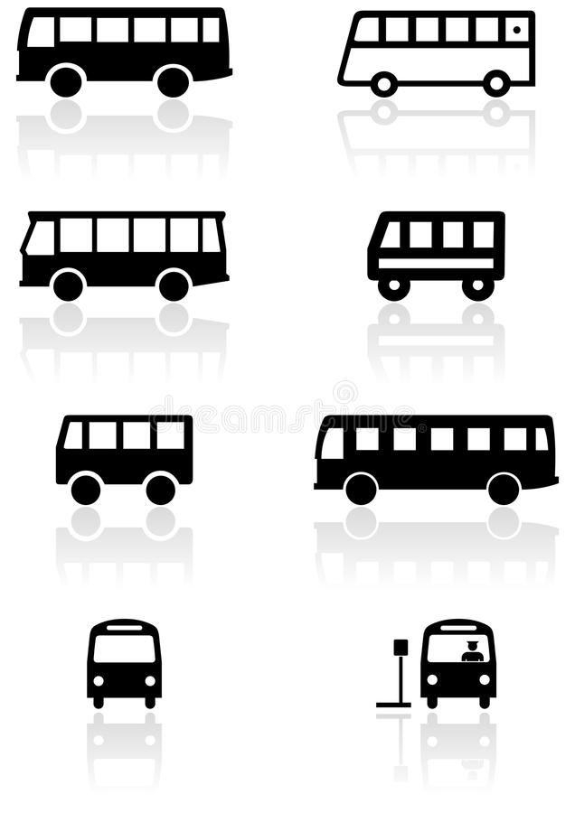 Bus Or Van Symbol Vector Illustration Set Stock Vector