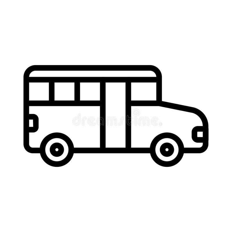 Bus thin line vector icon stock illustration