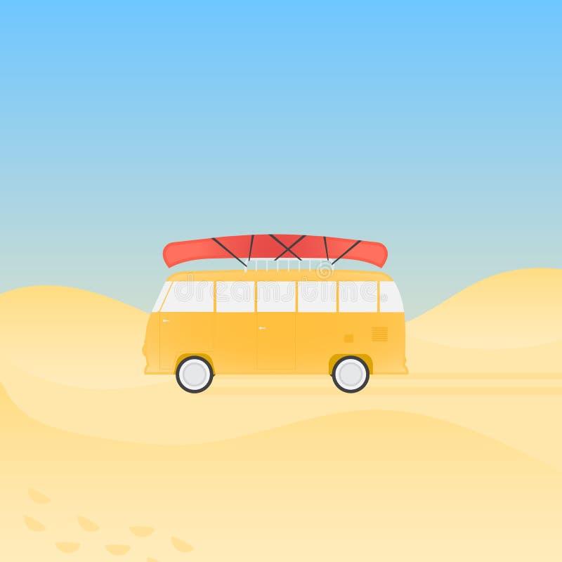 Bus voor reis met kano op het strand stock illustratie