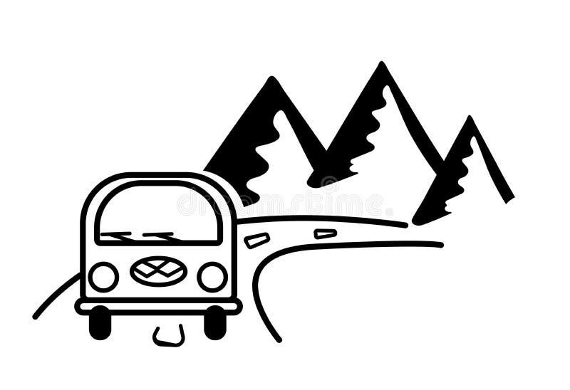 Bus, weg en bergen Gestileerde zwart-witte contourenillustratie Sticker op autoglas Reisembleem, toeristenkenteken vector illustratie