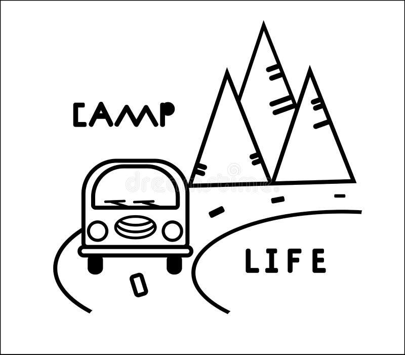 Bus, weg en bergen Gestileerde zwart-witte contourenillustratie Vectorconcept voor embleem, overhemd, druk kaart vector illustratie