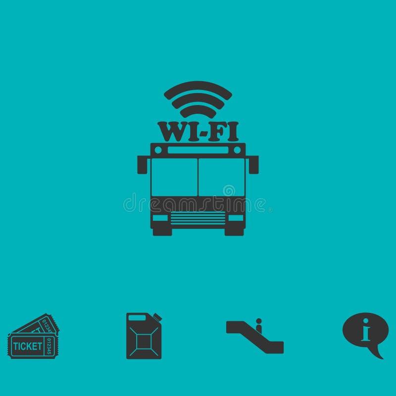 Bus wi-fi icon flat stock illustration