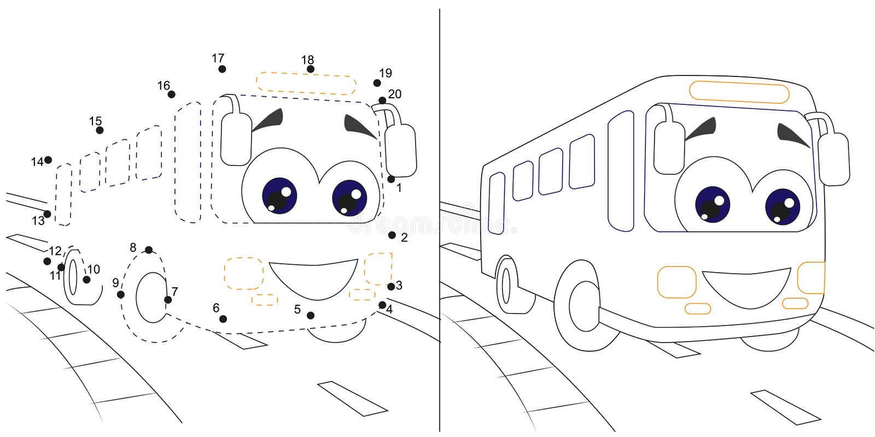 bus Zahlenspiel für Kinder Punkt, zum pädagogischer Kind-gamewith Antwort zu punktieren stock abbildung