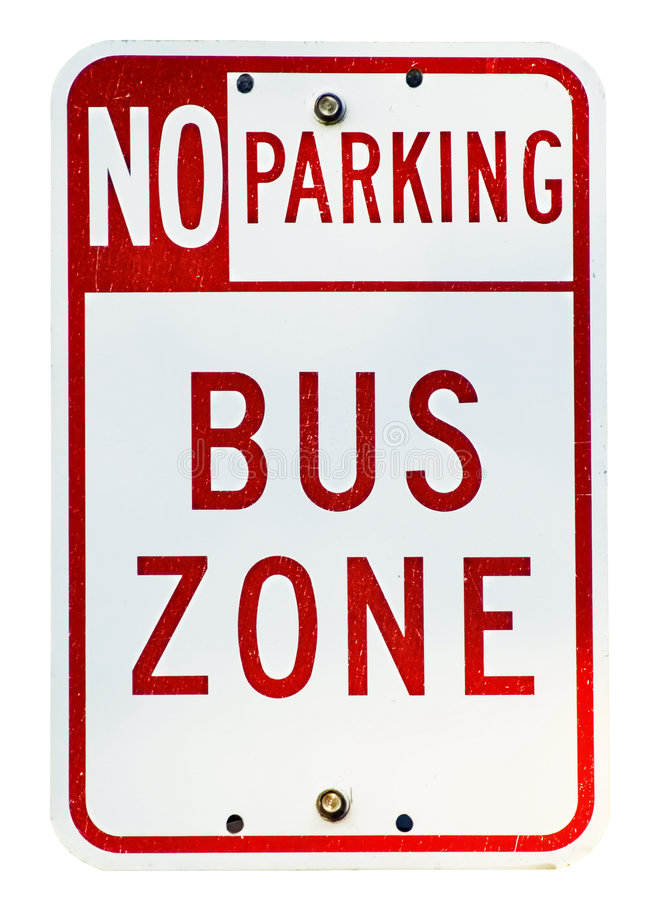Bus Zone. No parking bus zone sign isolated on white with clipping path royalty free stock photo