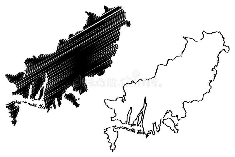 Busan översiktsvektor stock illustrationer