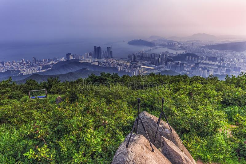 Busan city and downtown skyline in Misty day,South Korea stock photo