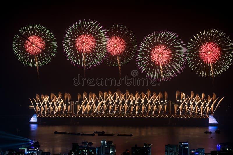 Busan fajerwerków Gwangan diamentu 2015 most zdjęcia stock