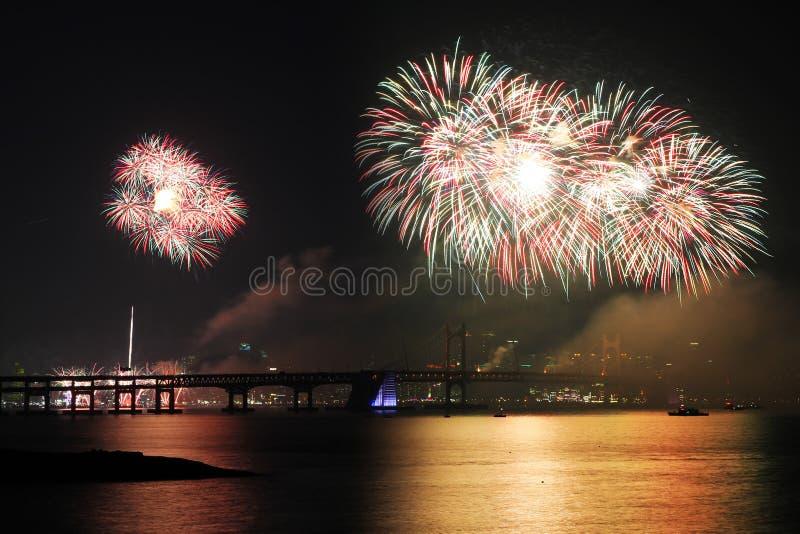 Busan fajerwerków Międzynarodowy festiwal, Busan, Korea - serie 2 zdjęcia royalty free