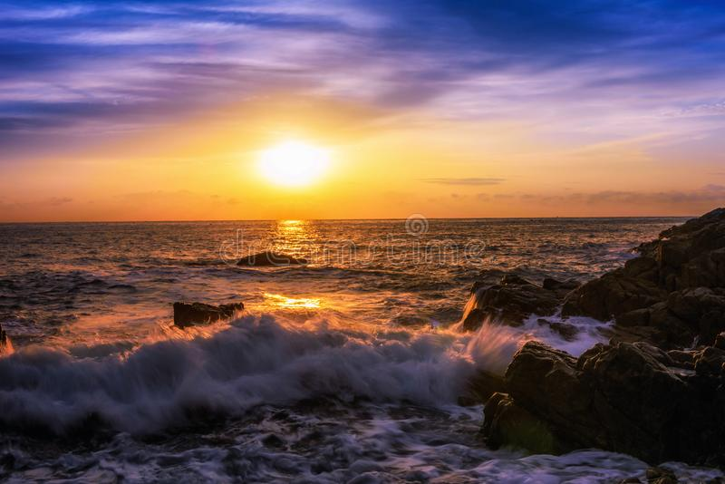 Sea scape at sunset in Busan city in South Korea. stock photography