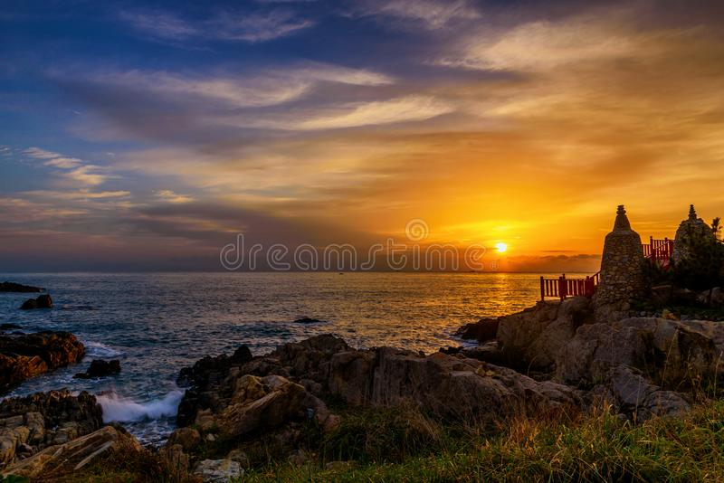Sea scape at sunset in Busan city in South Korea. royalty free stock image