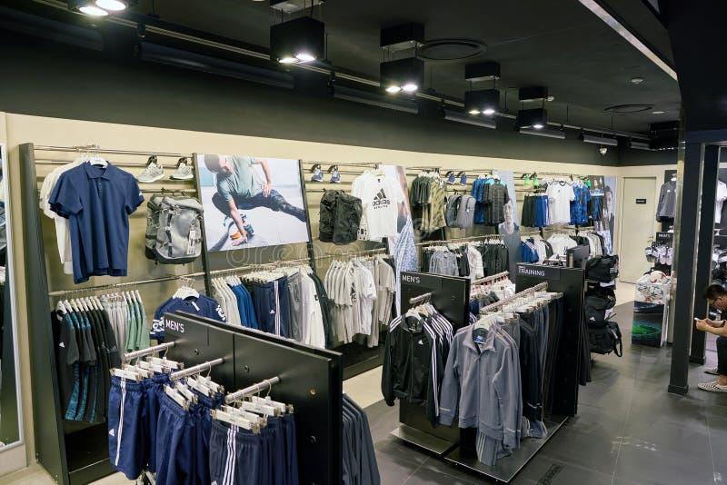 Adidas store. BUSAN, SOUTH KOREA - CIRCA MAY, 2017: inside Adidas store at Lotte Department Store in Busan royalty free stock photo